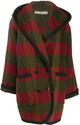 Guy Laroche Pre Owned 1980s Checked Hooded Coat
