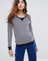 Maison Scotch Buttoned Stripey Sweater