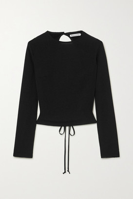 Reformation Cassia Cropped Open-back Crepe Top - Black
