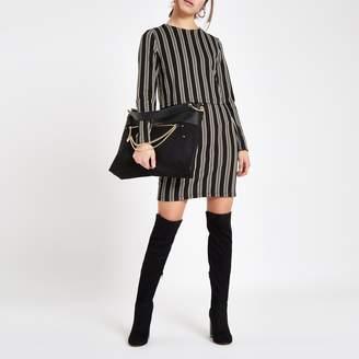 River Island Womens Petite Brown stripe long sleeve bodycon dress