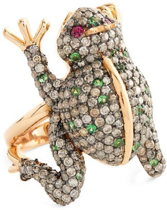 Cédille Cedille Rose Gold, Diamond and Tsavorite Into The Wild Frog Ring