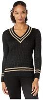 Lauren Ralph Lauren Metallic Cricket Sweater (Polo Black/Gold) Women's Clothing