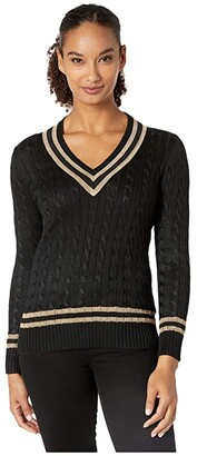 Lauren Ralph Lauren Metallic Cricket Sweater (Polo Black/Gold) Women's Clothing