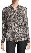 Haute Hippie Snakeskin-Print Long-Sleeve Silk Blouse
