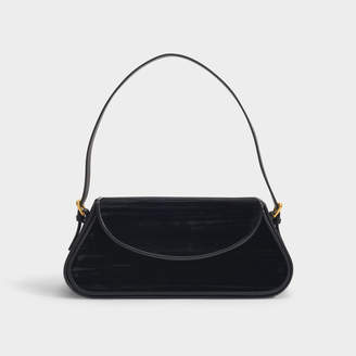 BY FAR Uma Shoulder Bag In Black Crushed Velvet