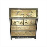 Oriental Furniture Asian Home Office 42-Inch Ming Chinese Black Lacquer Gold Leaf Drop Front Secretary Desk