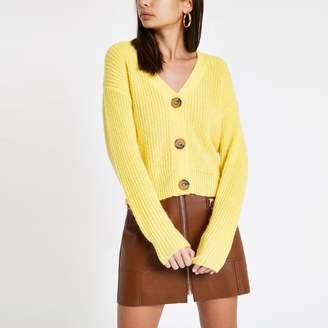 River Island Womens Yellow V neck diamante button cardigan
