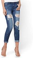 New York & Co. Soho Jeans - Sequin-Accent Destroyed Boyfriend - Dark Wash
