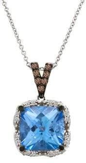 LeVian Le Vian 14k Vanilla Gold, Ocean Blue Topaz, Vanilla & Chocolate Diamonds Square Pendant Necklace