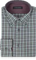 Forzieri Gray & Burgundy Plaid Cotton Slim Fit Men's Shirt