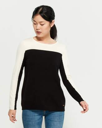 Calvin Klein Color Block Long Sleeve Sweater