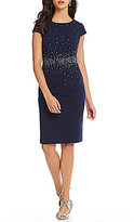 Jessica Howard Cap-Sleeve Embellished-Waist Sheath Dress