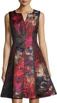 Chetta B Split-Neck Pleated Jacquard Fit-&-Flare Dress