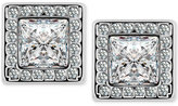 T Tahari Silver-Tone Crystal Square Button Earrings