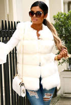 Pink Boutique Chic Dreams White Faux Fur Gilet