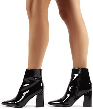 Public Desire Uk Empire Wide Fit Patent Pointed Toe Ankle Boots