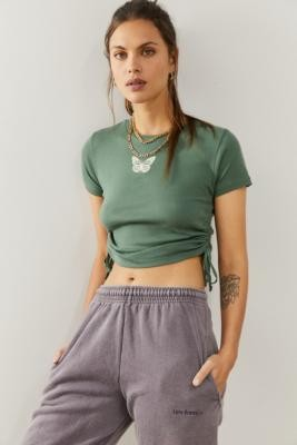 Urban Outfitters Ruched Butterfly Baby T-Shirt - Green S at