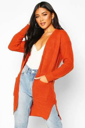 boohoo Pocket Detail Longline Cardigan