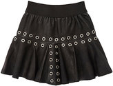 Little Remix Grommet-Embellished Grained Leather Skirt-BLACK