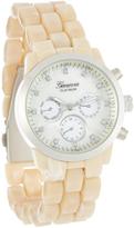 Geneva Platinum Bone & Silver Link Contrast Bracelet Watch
