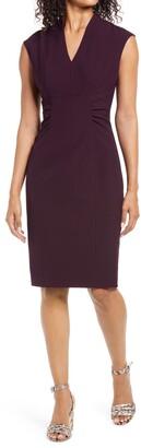 Tahari Cap Sleeve Side Tie Sheath Dress