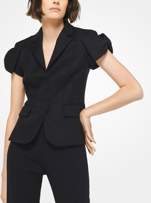 Satin and Wool Broadcloth Bow Jacket