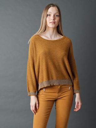 Indi & Cold - Gold Trim Ocre Sweater - xl | ochre - Ochre
