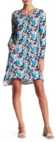 Loveappella Slouch Pocket Long Sleeve Printed Dress