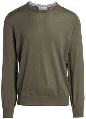 Brunello Cucinelli Suede Elbow Patch Crew Sweater