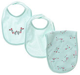 Little Me Baby Girls Floral Spray Bib & Burp Cloth Three-Piece Set