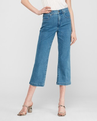 Express High Waisted Cropped Wide Leg Jeans
