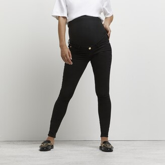 River Island Womens Black Molly overbump maternity jeggings