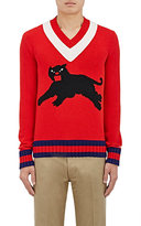 Gucci Men's Panther-Graphic Wool Sweater-RED, NO COLOR