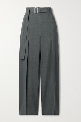 Helmut Lang Belted Wool-blend Straight-leg Pants - Gray
