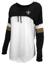 5th & Ocean New Orleans Saints Women's Lace Up Long Sleeve T-Shirt