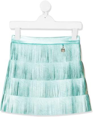 Elisabetta Franchi La Mia Bambina Engraved-Charm Fringed Skirt