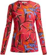 Diane von Furstenberg Harlow floral-print sheer mesh top