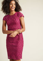 ModCloth Mirrored Lace Sheath Dress in 3X - Cap Knee Length