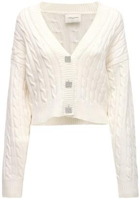 Giuseppe di Morabito Wool Cable Knit Cardigan W/ Jewel Button