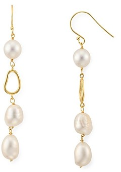 Argentovivo Cultured Freshwater Pearl Linear Drop Earrings in 18K Gold-Plated Sterling Silver