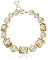 "Anne Klein Debutante Chic"" Gold-Tone Pearl and Crystal Bezel Set Accents Large Drama Collar Necklace, 17"" + 2"" Extender"