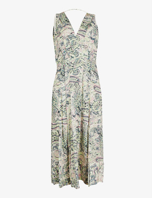 Reiss Marcy geometric-print chiffon midi dress