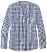 L.L. Bean Wrinkle-Free Pinpoint Oxford Shirt, Long-Sleeve Splitneck Gingham