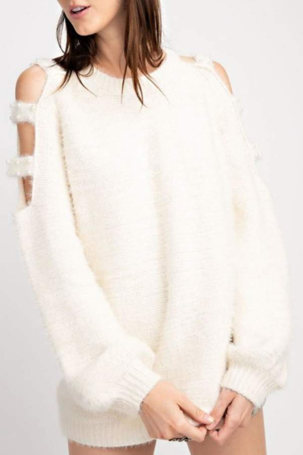 Easel Pearl Cold-Shoulder Sweater