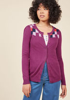 MCS1088C It's simple to practice the importance of being present with this fuchsia cardigan from our ModCloth namesake label. With a lilac, poppy, and navy square motif detailing its yoke and slightly puffed shoulders, this button-front sweater packs every m