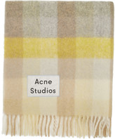 Acne Studios Yellow and Grey Multi Check Blanket Scarf