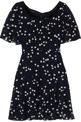 Rebecca Taylor Alessandra Embroidered Crinkled Cotton And Silk-blend Mini Dress
