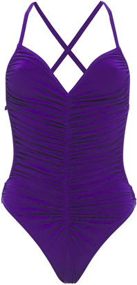 Norma Kamali Butterfly Open-back Ruched Swimsuit