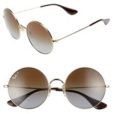 Ray-Ban Women's 55Mm Polarized Round Sunglasses - Gold/ Brown