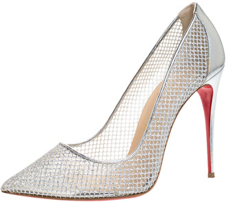 Christian Louboutin Silver Mesh Follies Resille Pointed Toe Pumps Size 41